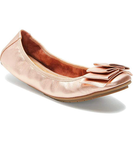 Lilyana leather flats in rose gold