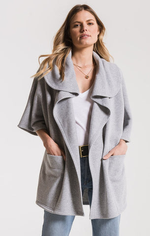Loft fleece oversized cardigan in grey