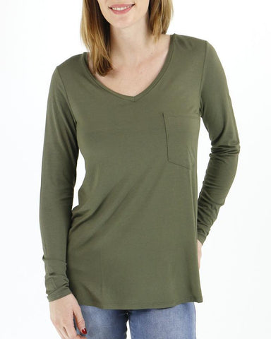 Long sleeve perfect pocket tee in olive