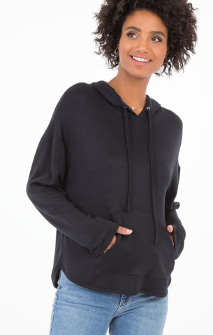 Lush modal pullover hoodie in black