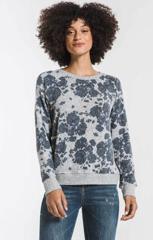 Marled floral pullover in heather grey