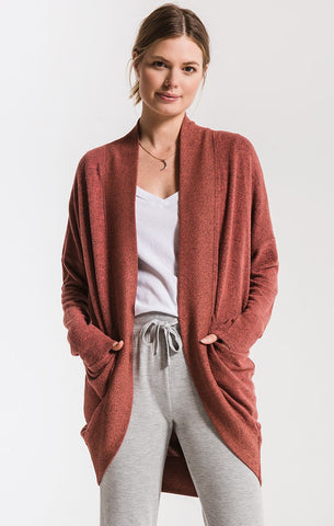 Marled sweater knit cocoon cardigan in mesa red