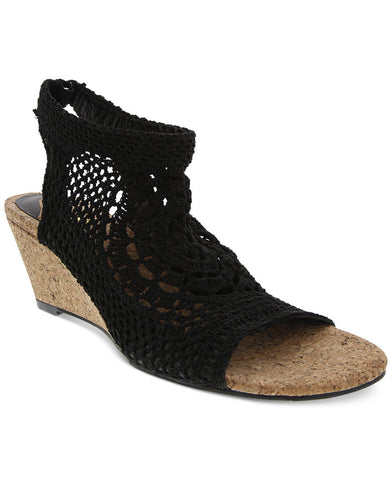 Navaeh black hand crocheted elastic wedges