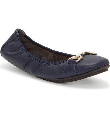 Olympia leather flats in navy