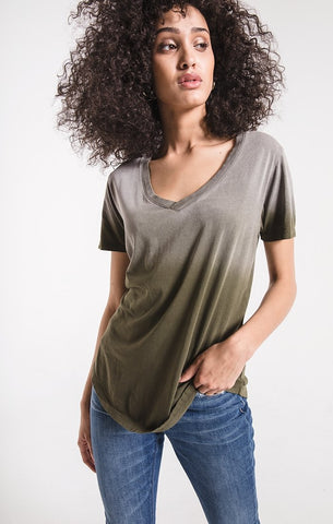 Ombre v-neck tee in olive night