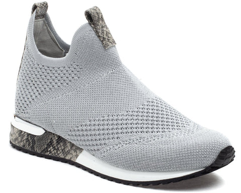 Orion silver knit slip-on sneakers