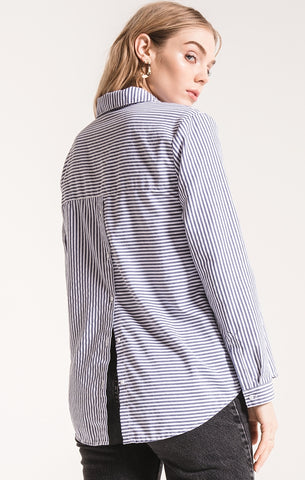 Palma striped button up top in blue/white