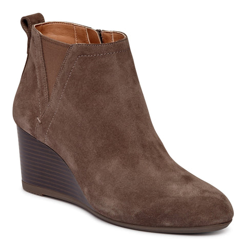 Paloma greige wedge ankle booties