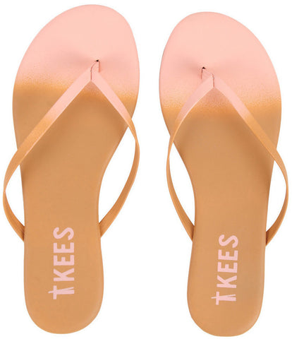 Leather flip flops in ombre (nude to blush pink)