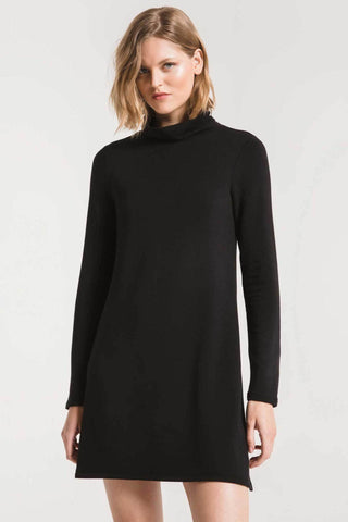 Premium fleece turtle neck dress in black