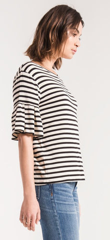 Premium sleek jersey black striped ruffle tee