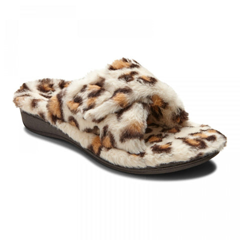 Indulge relax plush slipper in cream leopard