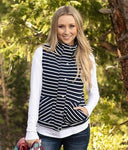 Knit puffer vest in navy/white stripe