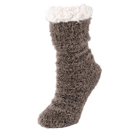 Slipper socks in taupe