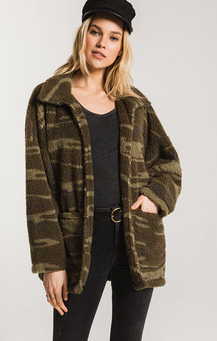 Sherpa teddy bear coatigan in camo green