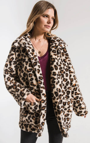 Sherpa teddy bear coatigan in leopard