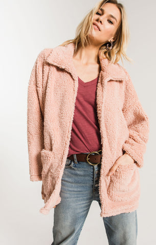 Sherpa teddy bear coatigan in misty rose