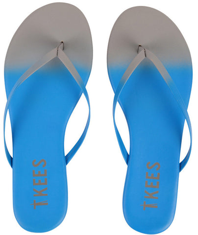 Leather flip flops in ombre (blue to grey)