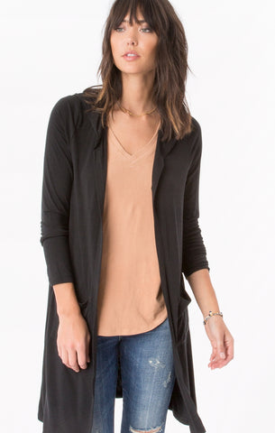 Premium sleek jersey duster w/hood in black
