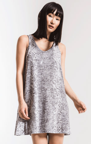 Snakeskin breezy dress in grey