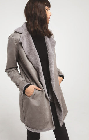 Sterling faux suede coat in steeple grey