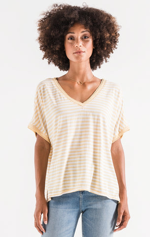 Striped boyfriend v-neck tee in yellow/cream