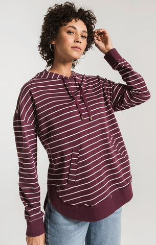 Striped Dakota pullover hoodie in wine/pearl