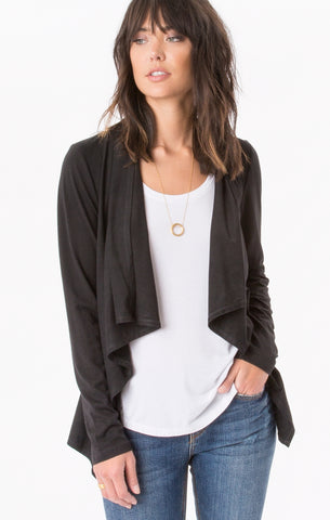 Faux suede waterfall cardigan in black