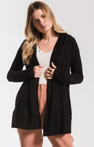 Sweater knit cardigan in black