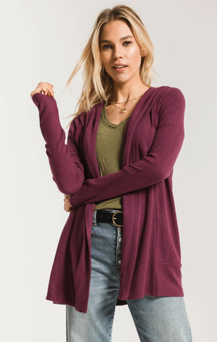 Sweater knit cardigan in mauve wine