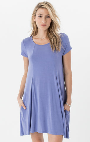 Swing t-shirt dress in bright blue