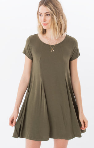 Swing t-shirt dress in ivy green