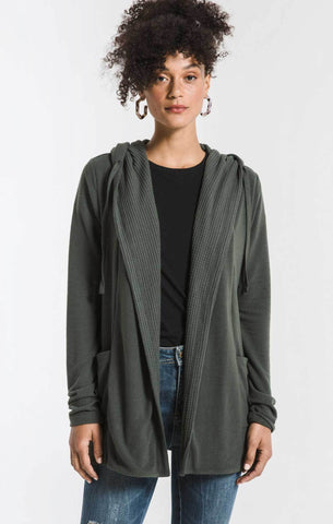 Thermal lined soft spun cardigan in rosin green