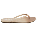 Leather flip flops in ombre (nude to peach)