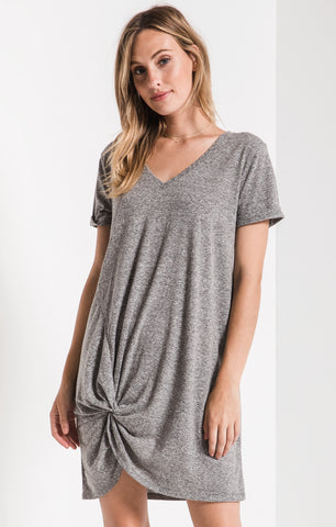 Triblend side knot dress in heather grey