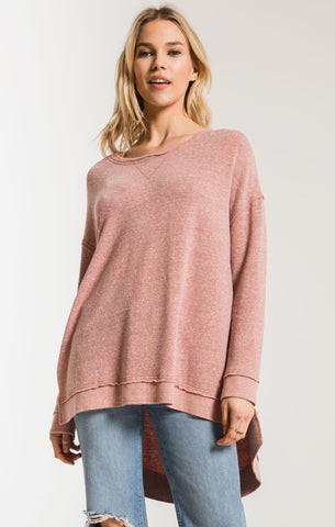 Triblend weekender long sleeve top in mesa red