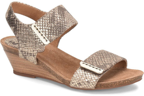 Verdi snake wedges in taupe/gold snake
