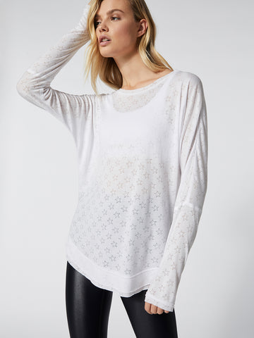 White starshine burnout long sleeve tee