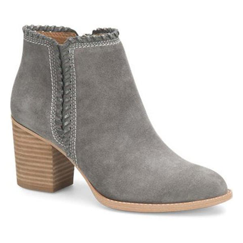 Wilton whipstitched grey suede booties