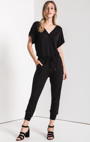 Wrap front jumpsuit in black