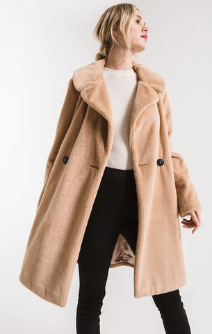 York faux fur coat in light mocha