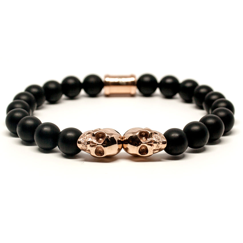 Outlaws Rose Gold Twin Skull Bracelet