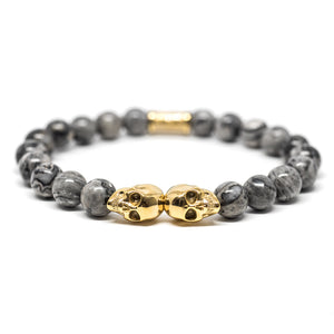Outlaws Jasper Twin Skull Bracelet