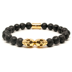 OUTLAWS GOLD TWIN SKULL BRACELET