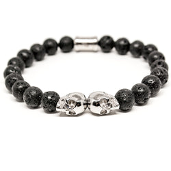 OUTLAWS SILVER TWIN SKULL BRACELET