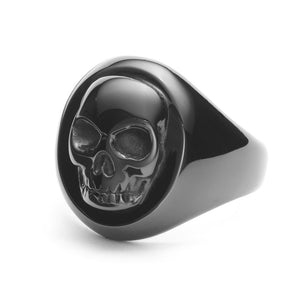 Aztec Skull Ring - Black