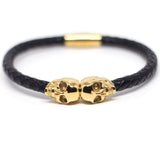 Genuine Leather Gold Twin Skull Bracelet