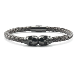 SkeletonHD Black Skull Leather Bracelet