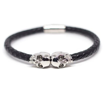 Genuine Leather Silver Twin Skull Bracelet