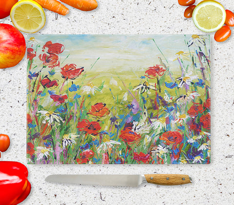 Glass Chopping Board of 'Poppies and Daisies'